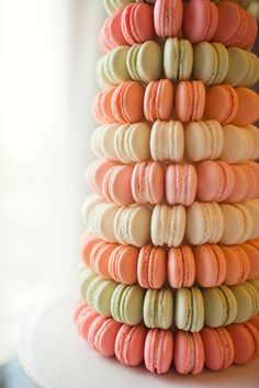 Oh My!! How Scrumptious! A Macaron tower of yumminess. See Julia Franzosa's full gallery on Style Me Pretty ~ a bridal shower fete full of beautiful florals from Pistil & Vine and invitations from Sarah Drake.  See the FULL gallery:  http://stylemepretty.com/gallery/gallery/7264 OR the Shower Inspiration Feature sponsored by Macy's on SMP ;)