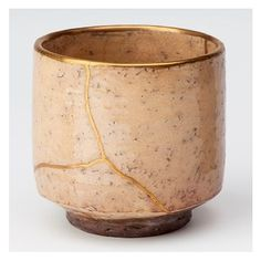 Kintsukuroi, the Japanese art of repairing broken pottery with seams of gold. It repairs the brokenness in a way that makes the container even more beautiful.