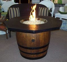 Wine barrel firepit table... want to make one.