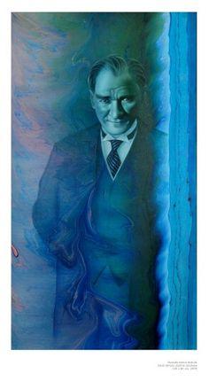 Atatürk Painting on ebru by Garip Ay