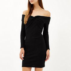 Black ribbed bardot bodycon dress - £35.00 #riversialnd