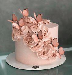 Butterfly Birthday Cakes, Sweet 16 Birthday Cake, Elegant Birthday Cakes, Beautiful Birthday Cakes, Butterfly Cakes, Beautiful Cakes, Pink Butterfly, Cake With Butterflies, Birthday Cake Girls