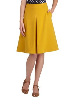 Bliss Is the Life Skirt. Start your outfit with this goldenrod-yellow skirt, and youll surely finish it with a smile! #yellow #modcloth