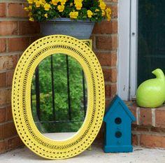 yellow wicker mirror