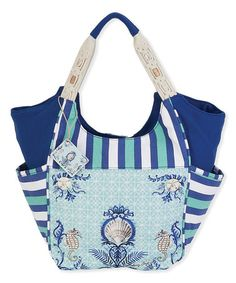 Love this Blue & White Stripe Seashell Tote on #zulily! #zulilyfinds