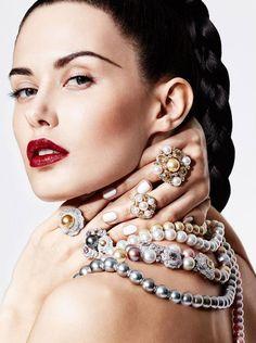 PEARLFECION                                             Sofia Rudeva by Greg Adamski for Elle Arabia. Chanel. #pearls