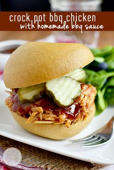 Gluten-Free Crock Pot BBQ Chicken with Homemade BBQ Sauce is easy and luscious. Use for sandwiches, nachos, wraps, and more!   iowagirleats.com Crock Pot Slow Cooker, Slow Cooker Recipes, Crockpot Recipes, Chicken Recipes, Cooking Recipes, Healthy Recipes, Free Recipes, Barbecue Recipes, What's Cooking