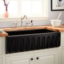 Buy the Signature Hardware 420796 Black Direct. Shop for the Signature Hardware 420796 Black Mitzy Single Basin Fireclay Reversible Farmhouse Sink with Fluted Front and save. Black Farmhouse Sink, Stainless Steel Farmhouse Sink, Fireclay Farmhouse Sink, Farmhouse Sink Kitchen, Rustic Kitchen, Kitchen Sink, Kitchen Countertops, Cuba, French Country Kitchens