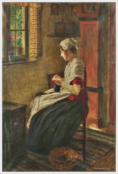 Walter Firle (German, 1859-1929) «An interior scene with a woman seated by a window knitting»