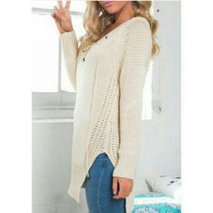 NEW! Fabulous V-Neck Lace Up Knit Tunic OSFM TREND ALERT   Customer Favorite - Rated 5 's   V-Neck  Lace Up  Slit side  Color: Cream  High quality  Boutique  OSFM S/M  NWOT Direct From Vendor   Price is Firm No Exceptions   ❌  Absolutely No Trades     Smoke Free  ✈  Fast Shipping Boutique  Sweaters V-Necks