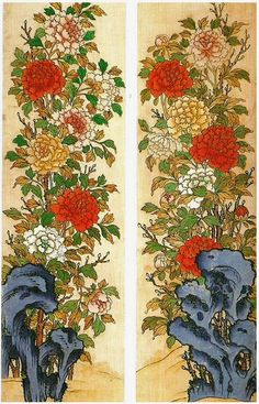The Tree Peonies Painting. 모란도 The peony among ancient Orientals has been known as a symbol of wealth. The Peony also drawn separately, but only to draw with rock, plum, orchid, chrysanthemum and bamboo, the Four Gracious Plants (四君子) and was painted to harmonize. The peony is a symbol of the king, because the peony has been recognized as the king of  flowers.