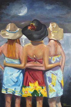 Best Friends Original Art Three Girlfriends in Lily by FabianArts