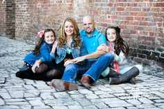 Downtown Fort Worth outside family photography, sitting photo, brick wall, cobblestone, ideas http://www.lightlyphoto.com