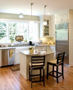 "Island Ideas For A Small Kitchen as seen on hgtv's ""fixer upper."" love the gray beadboard on the"