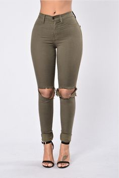 Knee Cut High Waist Skinny Jeans