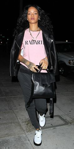 Casual chic: Rihanna turned heads in a casual yet polished ensemble when she headed out to Nobu Matsuhisa in Beverly Hills on Monday