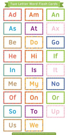 Free Printable Two Letter Words Flash Cards Phonics Flashcards, Sight Word Flashcards, Flashcards For Kids, Phonics Worksheets, Kids Sight Words, Preschool Sight Words, Phonics Words, The Words, Three Letter Words