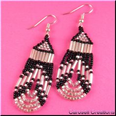 Loop De Loop Seed Beaded Dangling Earrings TAGS - Jewelry, Earrings, Beaded, carosell creations, glass, seed beads, black, white, pierced, accessories, weaved, woven, stitched, bugle, loops, dangle, chandelier, bride, bridal, wedding, holiday gift idea, gypsy, bohemian, chic, mayan, aztec, lady, romantic, peyote, women, southwestern, native american indian