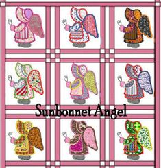 Sunbonnet Angel machine embroidery by 4everkeepitsewunique on Etsy