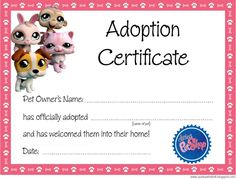 Littlest Pet Shop Adoption Certificate  and Littlest Pet Shop Party Ideas on Frugal Coupon Living.