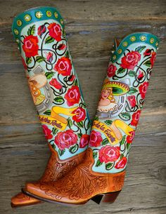 Custom LA REYNA tall top with tooled saddle tan vamps, Rocket Buster. I would sell a kidney for these Custom Cowboy Boots, Custom Boots, Cowgirl Boots, Western Boots, Cowboy Hats, Western Wear, Cowgirl Chic, Cowgirl Style, Cowgirl Fashion