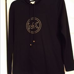 Hoodie Black sweatshirt embroidered with gold MK with hood. Brand new condition Michael Kors Tops Sweatshirts & Hoodies