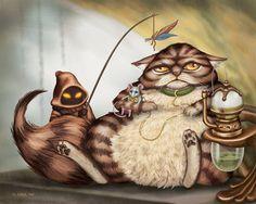 Jabba the Cat by Alana McCarthy  Funny art and cute illustrations. Mashup fanart