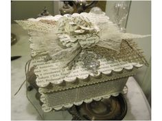 One more little box with burlap, vintage lace, and crochet trim