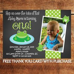 Frog First Birthday Invitation 1st Birthday Party by JoyfulINK, $15.00