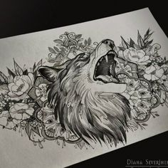 diana severinenko chest piece. LOVE the floral, not sure about the face and mouth of the fox.
