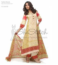 Price: $12 - ST-8869B a red and light golden printed dress collection by Shariq Textile features long shirt with self-print and printed design on the border and right side of the shirt and button style neck