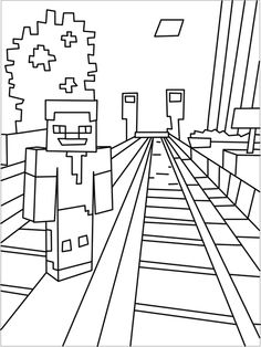 Printable Minecraft City coloring pages.