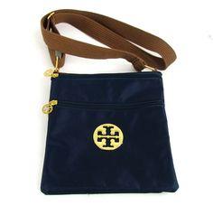 Tory Burch Blue Nylon Crossbody Handbag With Brown Straps And Gold Hardware #ToryBurch #MessengerCrossBody