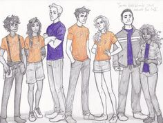 the Seven Halfbloods: Leo, Piper, Jason, Percy, Annabeth, Frank and Hazel.