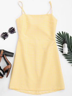 Checked Bowknot Cut Out Mini Dress CHECKED: Mini Dresses L | ZAFUL
