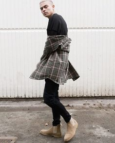 Follow our friends @aestheticoutfitters_ for the HOTTEST Street Style Clothing Online!!! Distressed Flannel Black Biker Jeans & Tan Suede Chelsea Boots order at http://ift.tt/2bD8mbF  FREE worldwide shipping  @aestheticoutfitters_ @aestheticoutfitters_ @aestheticoutfitters_