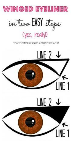 Winged Eyeliner Tutorial via www.hairsprayandhighheels.net #makeup #tutorial #eyemakeup #beauty