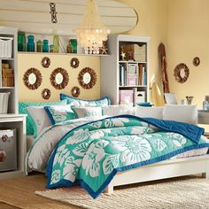 Stuff-Your-Stuff Platform Bed System (Bed, Towers, Shelves + Desk)  CAD $125.38 – CAD$3540.98 // I love beach themed rooms!