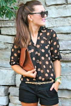 Dotted Shirt With Black Shorts -- 50 Stylish Summer Outfits - Style Estate -