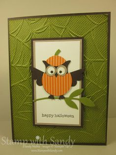 handmade Halloween card from Stamp with Sandy: Owl Punch dresed as a pumpkin ... Stampin' Up!