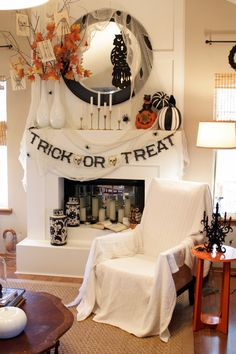 """Halloween mantel - This is just """"pretty"""""""