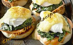 Dukan Eggs Benedict with smoked salmon and spinach