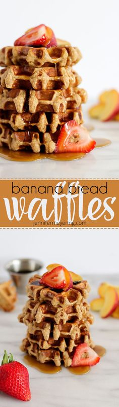 Banana Bread Protein Waffles - Treat your family with these beautiful mini-waffles that taste just like banana bread and are packed with protein! Yummy Waffles, Crepes And Waffles, Beignets, Waffle Maker Recipes, Protein Waffles, Muffins, Banana Recipes, Love Food, Breakfast Recipes