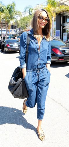 A denim jumpsuit is the ultimate off-duty piece that is an easy, weekend look as seen on Jourdan Dunn on Riches For Rags.