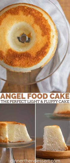 Angel Food Cake is light and fluffy, made with egg whites, sugar, almond and vanilla flavor, ready in under 90 minutes! No Egg Desserts, White Desserts, Great Desserts, Delicious Desserts, Dessert Recipes, Yummy Food, Top Recipes, Egg White Dessert, Egg White Recipes