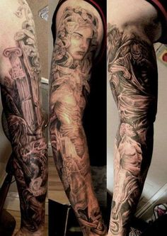 What does greek tattoo mean? We have greek tattoo ideas, designs, symbolism and we explain the meaning behind the tattoo. Tattoo Sleeve Designs, Sleeve Tattoos, Greek God Tattoo, Rock Tattoo, Tattoo Art, Zeus Tattoo, Greek Mythology Tattoos, God Tattoos, Watercolor Video