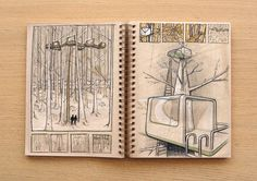 ) tree house sketch by Reid Schlegel on bēhance. Drawing Practice, Drawing Skills, Drawing Sketches, Art Drawings, Sketching, Moleskine, Interior Sketch, Interior Doors, Interior Design