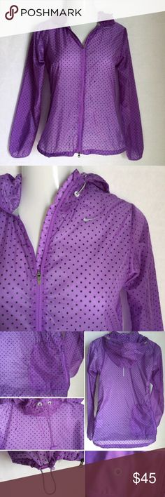 ✨NEW Listing✨Nike Running polka dot windbreaker Nike Running purple polka dot windbreaker / rain jacket. Super lightweight and sheer. Has adjustable waistband and hood, back pocket that makes it packable with earbud hole. Size M. 100% nylon. Not interested in trades. Nike Jackets & Coats