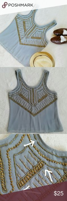 """UO Ecote Brass Beaded Boho Top Ecote top with brass colored beads. One or two missing beads in three spots (photo 3) but comes with extra beads for filling in. Size medium. Pit to pit is 18.5"""" flat. Shoulder to hem is 23"""". Made in India. New with a tag. Urban Outfitters Tops"""