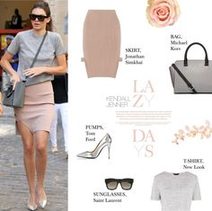 """leviona: """" Casual Chic: Kendall Jenner by putricp featuring a leather satchel purse ❤ liked on Polyvore Short sleeve pocket tee, 340 UAH / Jonathan Simkhai stretch knit skirt, 11 385 UAH / Michael..."""
